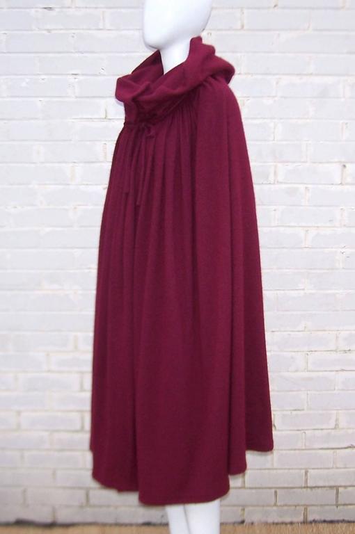 Dramatic 1970's Valentino Aubergine Angora Wool Sweater Cape With Skirt 4
