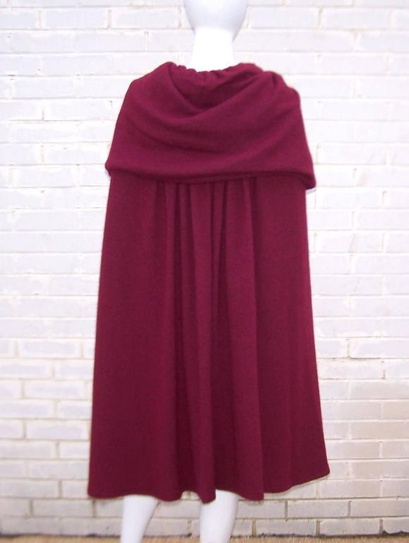 Dramatic 1970's Valentino Aubergine Angora Wool Sweater Cape With Skirt 5