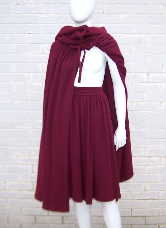 Dramatic 1970's Valentino Aubergine Angora Wool Sweater Cape With Skirt For Sale 1