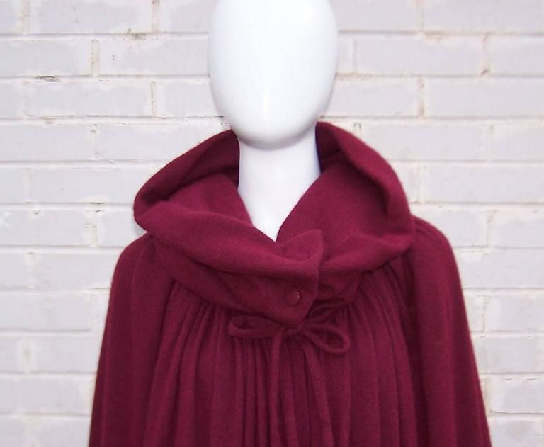 Dramatic 1970's Valentino Aubergine Angora Wool Sweater Cape With Skirt For Sale 2