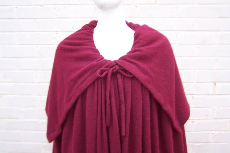 Dramatic 1970's Valentino Aubergine Angora Wool Sweater Cape With Skirt For Sale 3