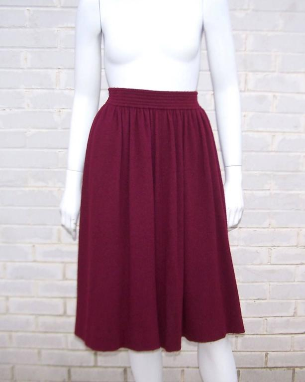 Dramatic 1970's Valentino Aubergine Angora Wool Sweater Cape With Skirt For Sale 4
