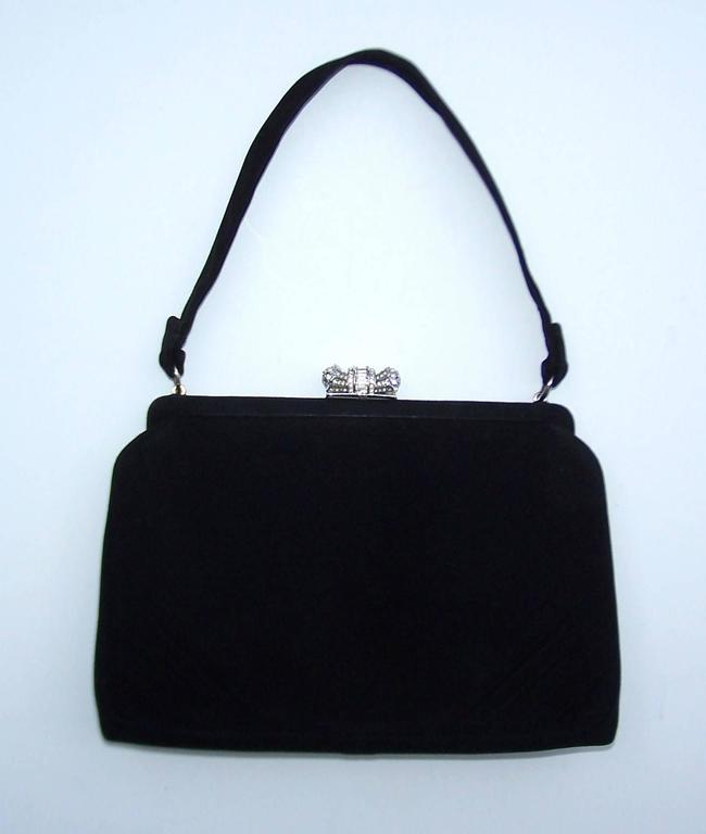 Classic 1950's Coblentz Black Suede Evening Handbag With Rhinestone Closure 3