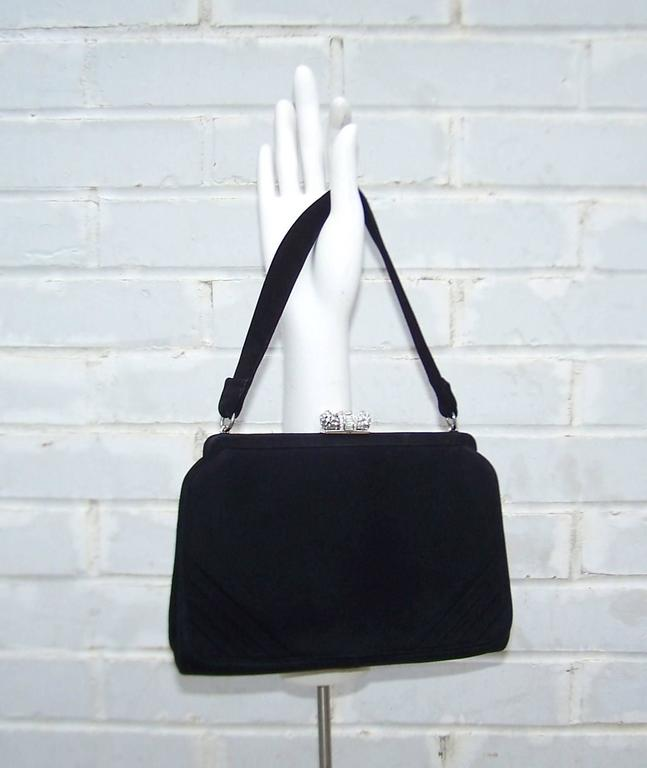 Classic 1950's Coblentz Black Suede Evening Handbag With Rhinestone Closure 4