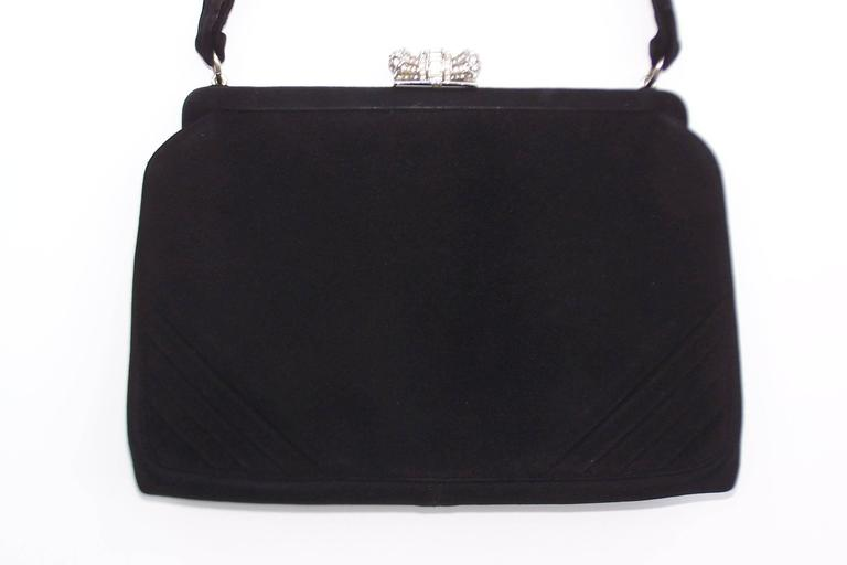 Classic 1950's Coblentz Black Suede Evening Handbag With Rhinestone Closure 5