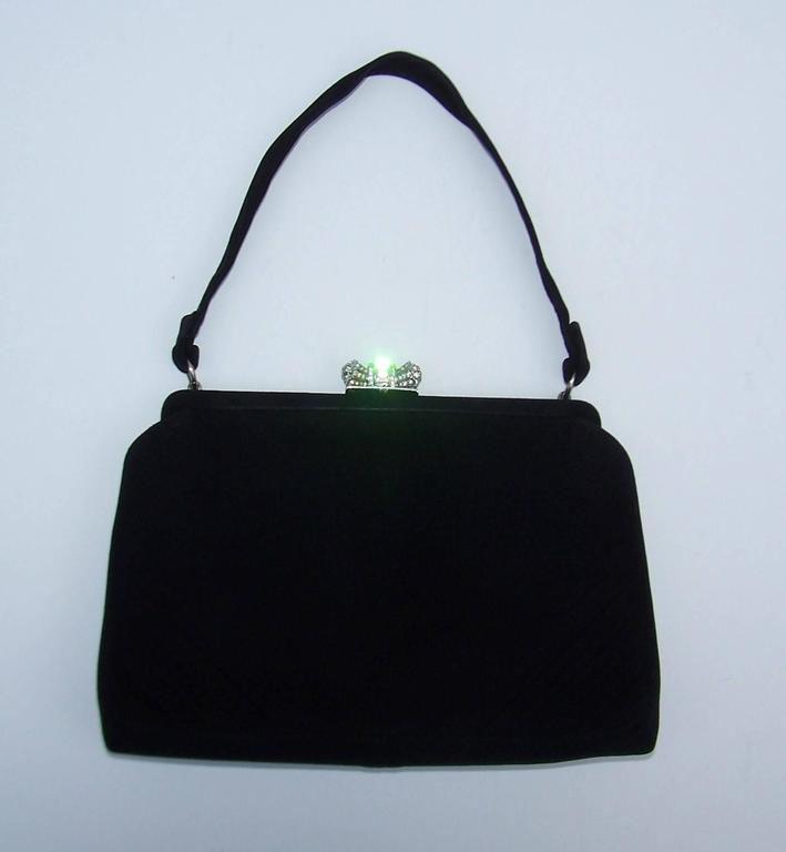 Classic 1950's Coblentz Black Suede Evening Handbag With Rhinestone Closure 9