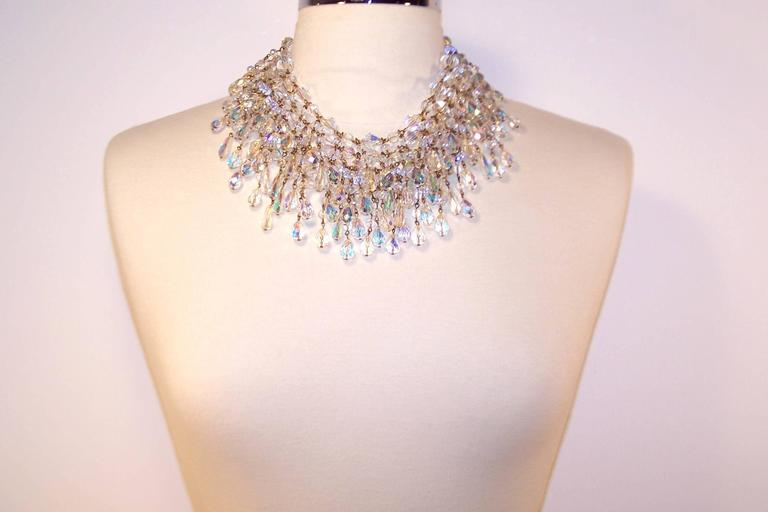 Cascading 1980's Multi Strand Crystal Chandelier Necklace 2
