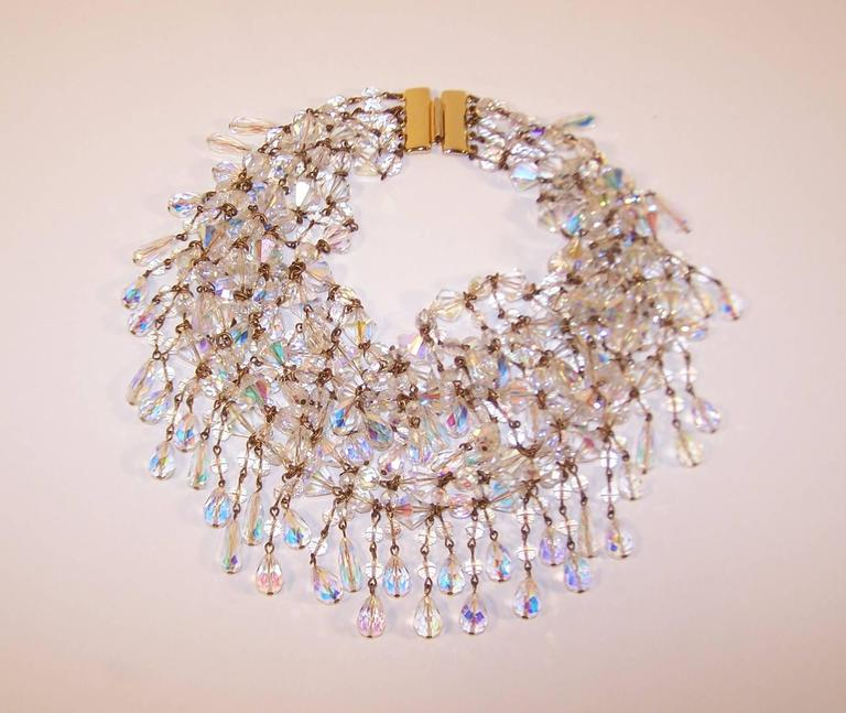 Cascading 1980's Multi Strand Crystal Chandelier Necklace 3