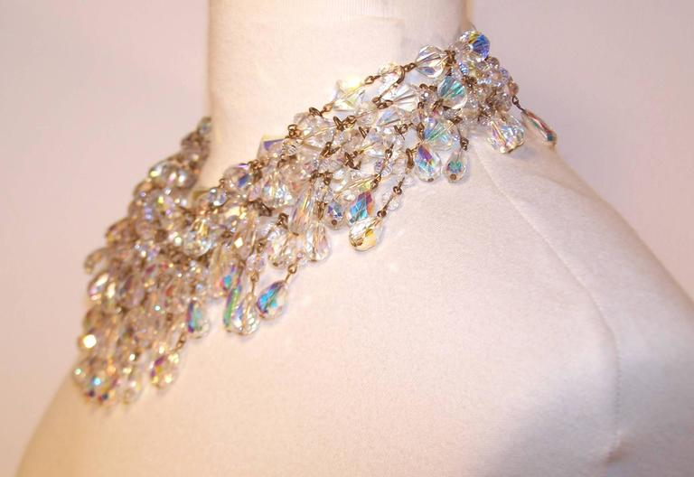 Cascading 1980's Multi Strand Crystal Chandelier Necklace 4