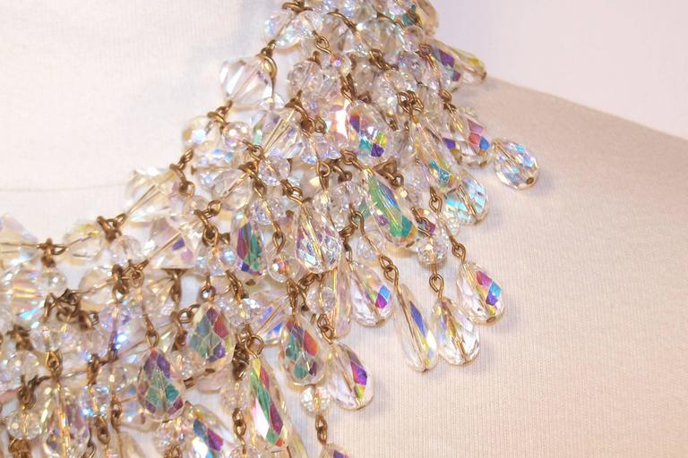 Cascading 1980's Multi Strand Crystal Chandelier Necklace 5