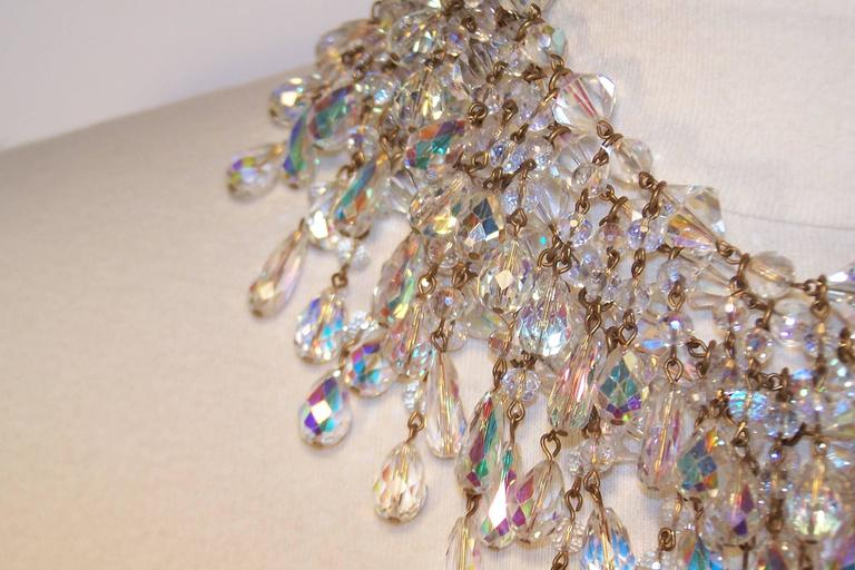 Cascading 1980's Multi Strand Crystal Chandelier Necklace 6