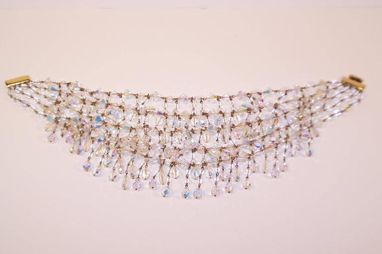 Cascading 1980's Multi Strand Crystal Chandelier Necklace 7