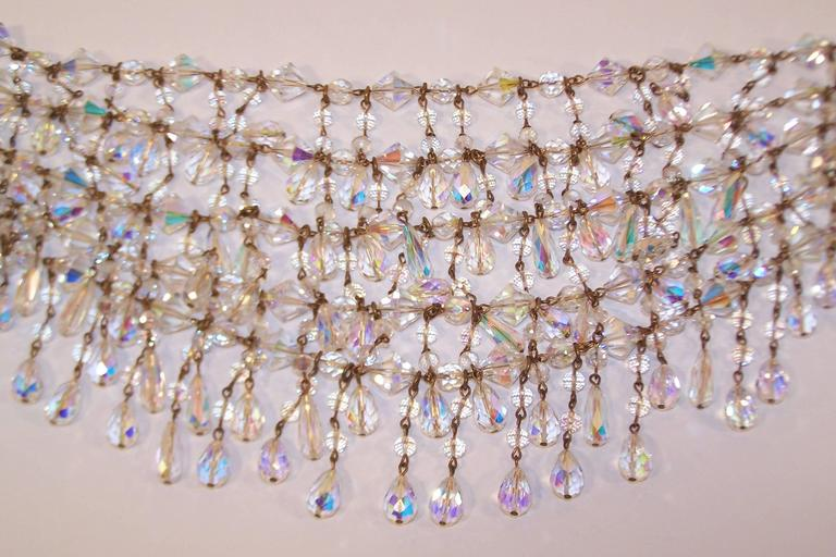 Cascading 1980's Multi Strand Crystal Chandelier Necklace 9