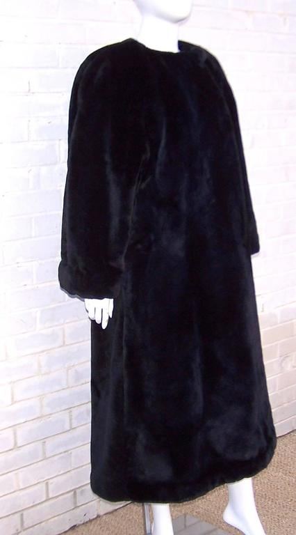 Fabulous 1980's Sonia Rykiel Black Faux Fur Coat In Excellent Condition For Sale In Atlanta, GA