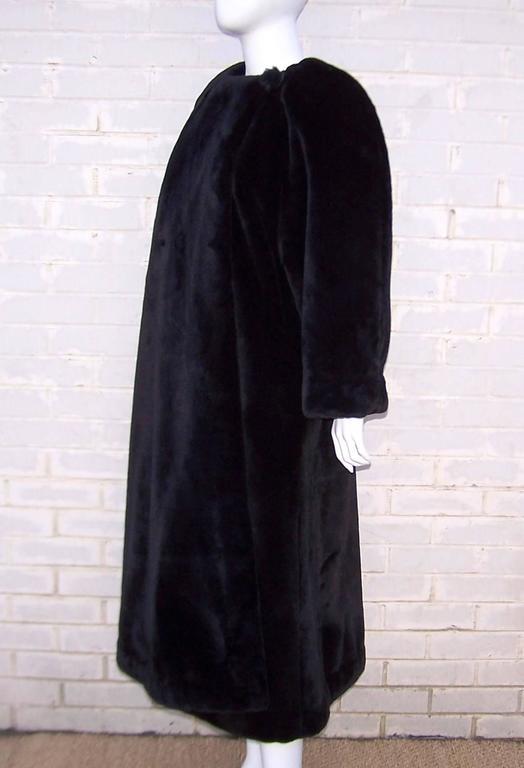 Women's Fabulous 1980's Sonia Rykiel Black Faux Fur Coat For Sale