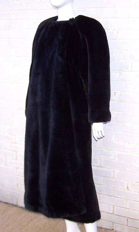 Fabulous 1980's Sonia Rykiel Black Faux Fur Coat For Sale 1