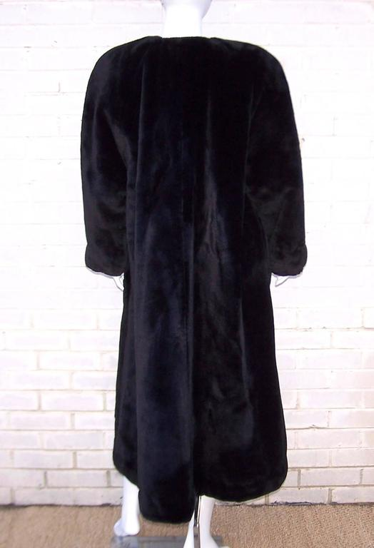 Fabulous 1980's Sonia Rykiel Black Faux Fur Coat For Sale 2