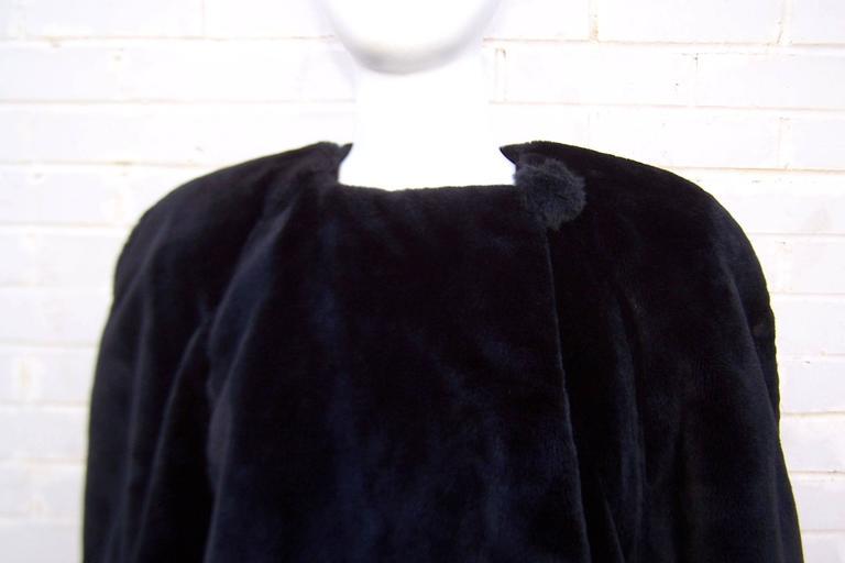 Fabulous 1980's Sonia Rykiel Black Faux Fur Coat For Sale 3