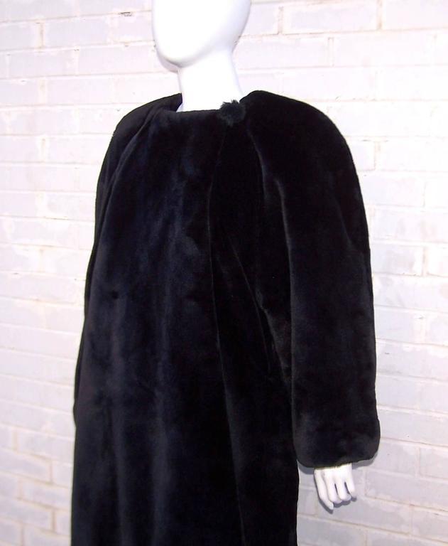Fabulous 1980's Sonia Rykiel Black Faux Fur Coat For Sale 4