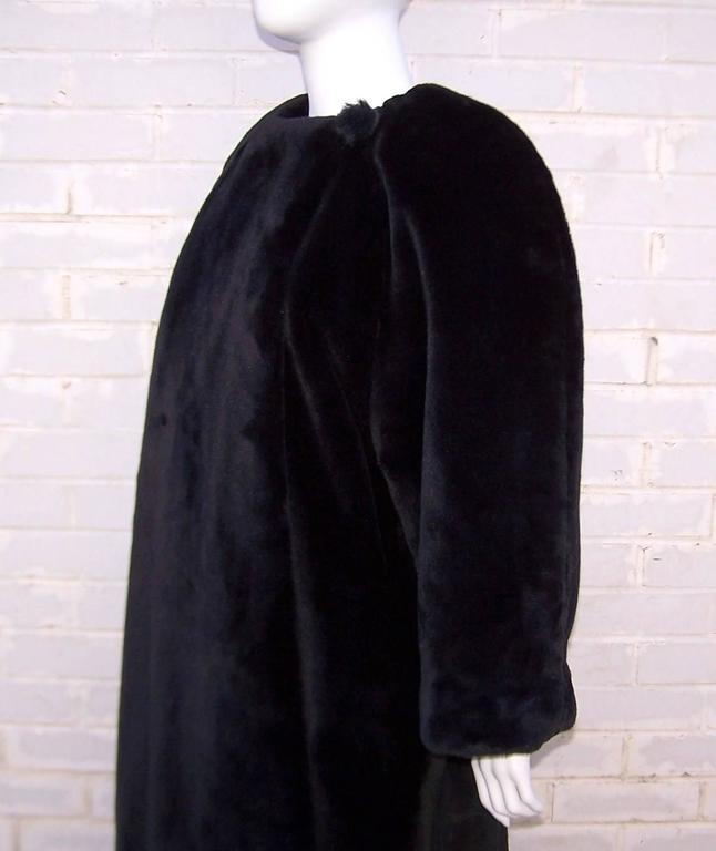 Fabulous 1980's Sonia Rykiel Black Faux Fur Coat For Sale 5