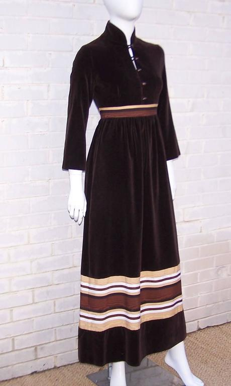 Black 1970's A. J. Bari Chocolate Brown Velveteen Maxi Dress With Moire Trim For Sale