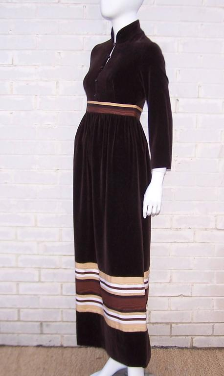 1970's A. J. Bari Chocolate Brown Velveteen Maxi Dress With Moire Trim In Excellent Condition For Sale In Atlanta, GA