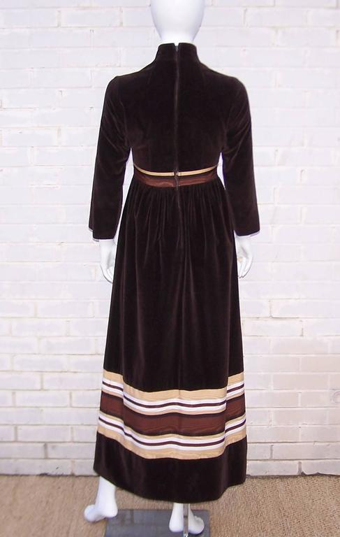 Women's 1970's A. J. Bari Chocolate Brown Velveteen Maxi Dress With Moire Trim For Sale