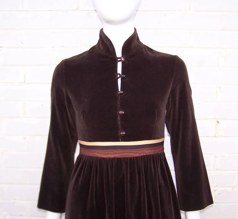 1970's A. J. Bari Chocolate Brown Velveteen Maxi Dress With Moire Trim For Sale 1