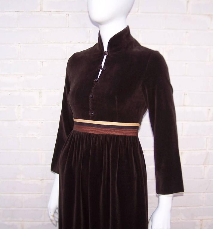 1970's A. J. Bari Chocolate Brown Velveteen Maxi Dress With Moire Trim For Sale 2