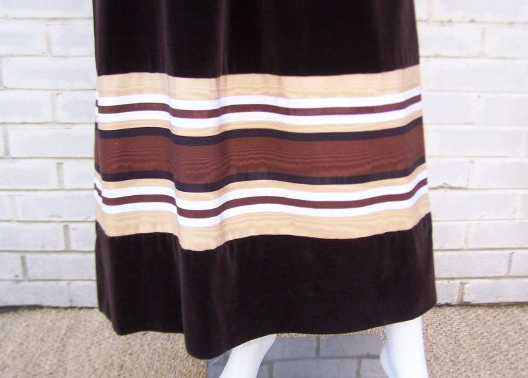 1970's A. J. Bari Chocolate Brown Velveteen Maxi Dress With Moire Trim For Sale 3