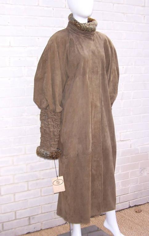 1980 S Fendi Swakara Lamb And Olive Green Suede Coat With