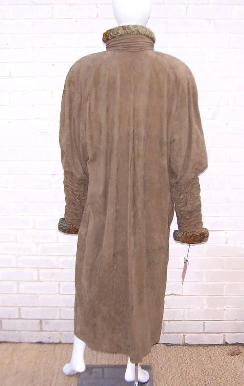 1980s Fendi Swakara Lamb And Olive Green Suede Coat With Ruched Details For Sale At 1stdibs
