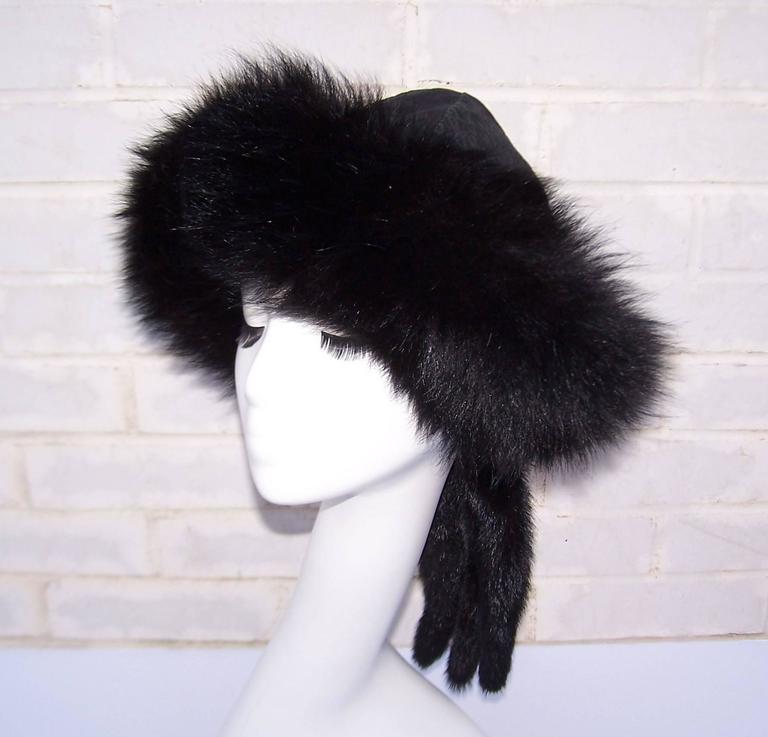 Vintage Mongolian Style Black Fox Fur & Leather Hat With Detachable Tails 2