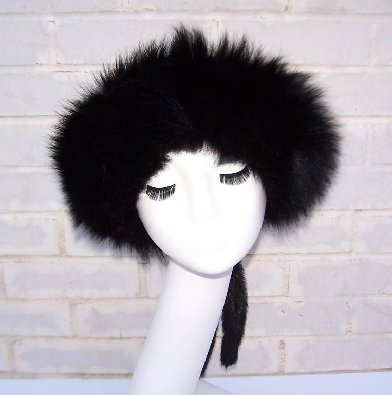 Vintage Mongolian Style Black Fox Fur & Leather Hat With Detachable Tails 3