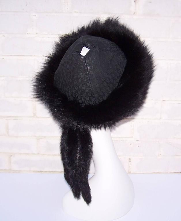 Vintage Mongolian Style Black Fox Fur & Leather Hat With Detachable Tails 5