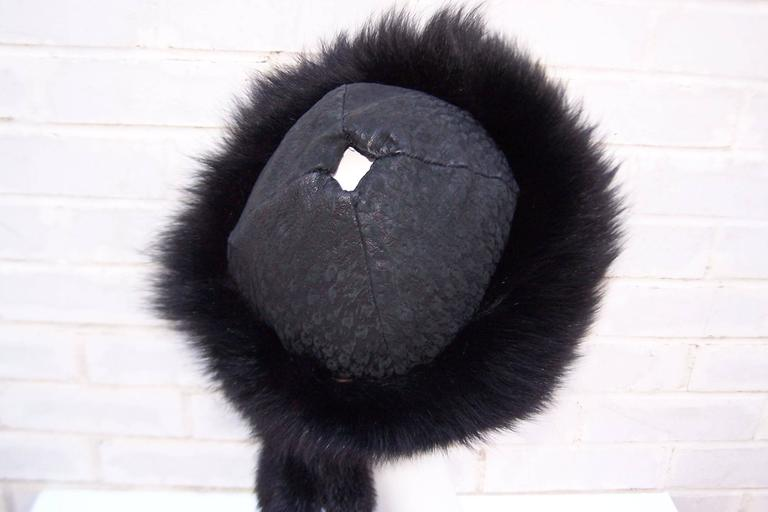 Vintage Mongolian Style Black Fox Fur & Leather Hat With Detachable Tails 6