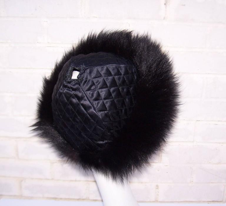 Vintage Mongolian Style Black Fox Fur & Leather Hat With Detachable Tails 9