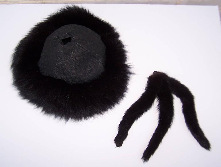 Vintage Mongolian Style Black Fox Fur & Leather Hat With Detachable Tails 10