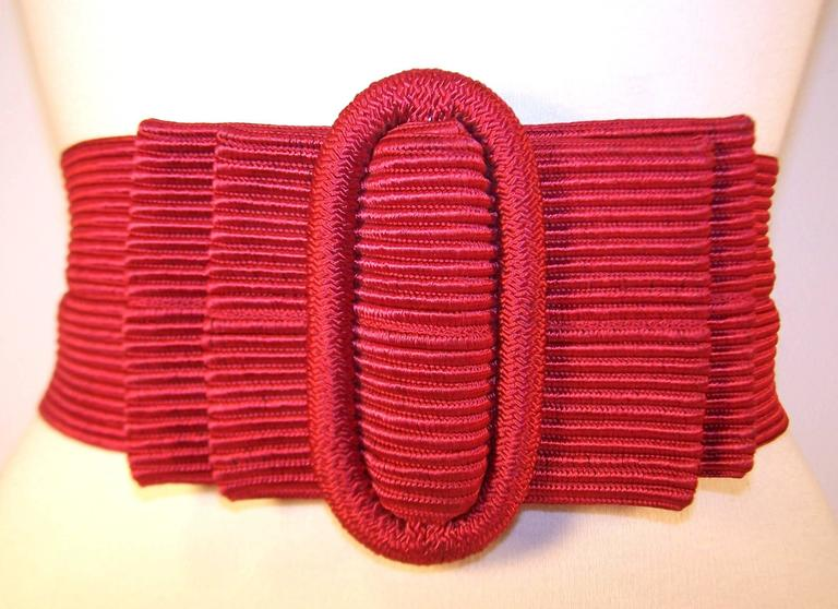 Waist Cinching 1980's Ruby Red Silk Corded Belt With Bow Buckle 3