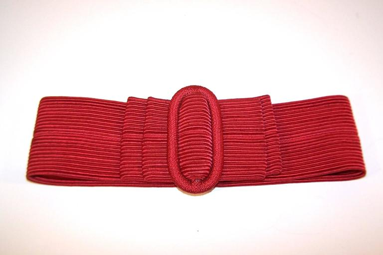 Waist Cinching 1980's Ruby Red Silk Corded Belt With Bow Buckle 4