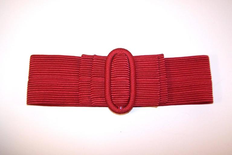 Waist Cinching 1980's Ruby Red Silk Corded Belt With Bow Buckle 5