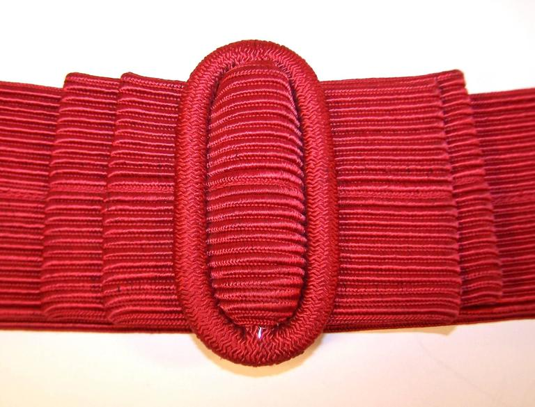 Waist Cinching 1980's Ruby Red Silk Corded Belt With Bow Buckle 6