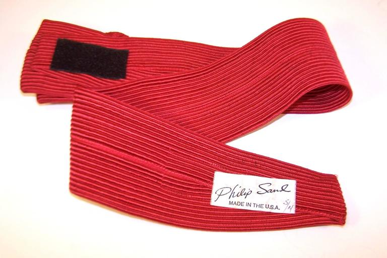 Waist Cinching 1980's Ruby Red Silk Corded Belt With Bow Buckle 8