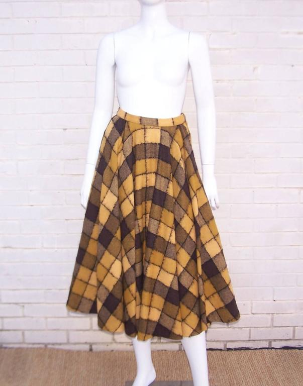 Brown Checkered 1950's Wool Full Circle Skirt For Sale