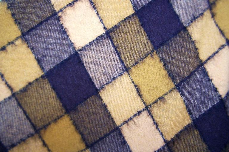 Checkered 1950's Wool Full Circle Skirt For Sale 2