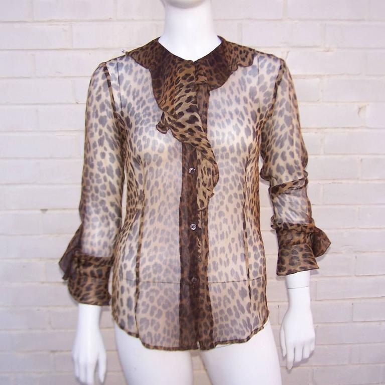 Purrrrfect 1990's Moschino Sheer Leopard Print Top 2