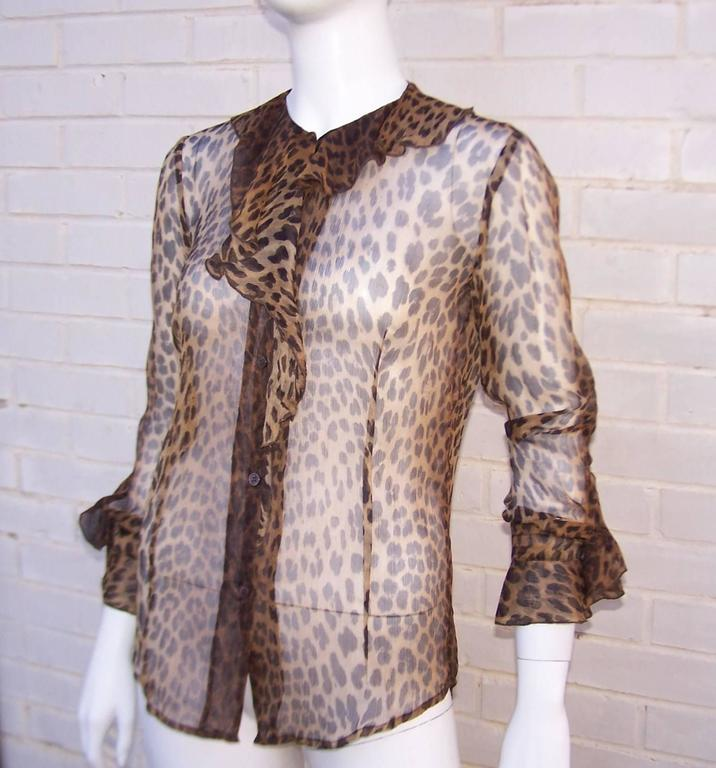Purrrrfect 1990's Moschino Sheer Leopard Print Top 4
