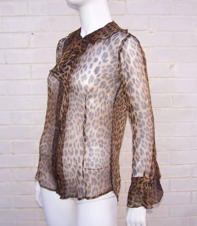 Purrrrfect 1990's Moschino Sheer Leopard Print Top 5
