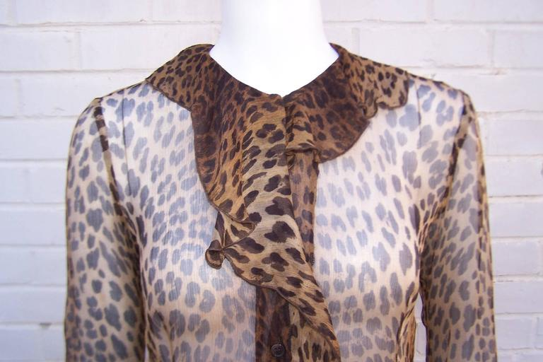 Purrrrfect 1990's Moschino Sheer Leopard Print Top 8