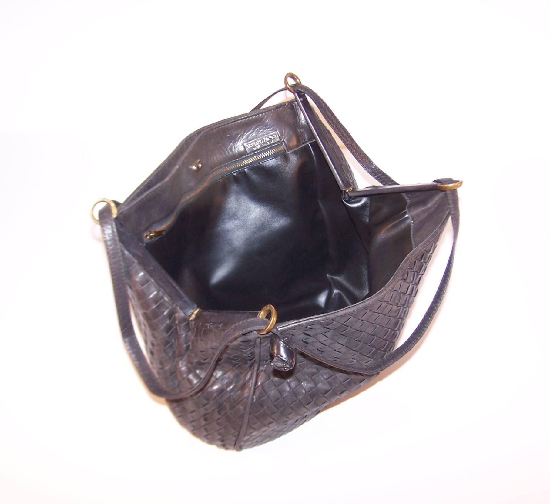 Vintage Bottega Veneta Charcoal Gray Intrecciato Leather Shoulder Handbag  at 1stdibs 73c1932b401f6